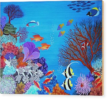 Coral Garden Wood Print by Fram Cama