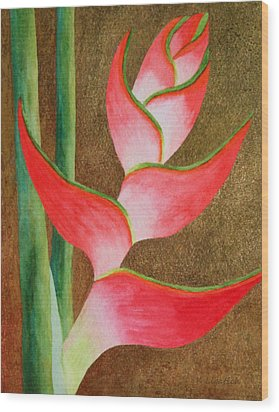 Coral Lobster Claw Heliconia With Gold Leaf Wood Print by Kerri Ligatich