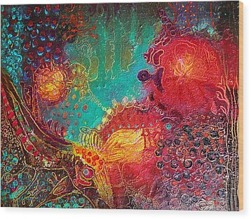 Wood Print featuring the painting Coral World by Lolita Bronzini