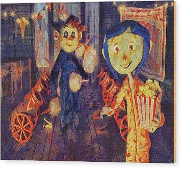 Wood Print featuring the painting Coraline Circus by Joe Misrasi