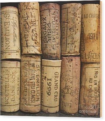 Corks Of Fench Vine Of Bordeaux Wood Print by Bernard Jaubert