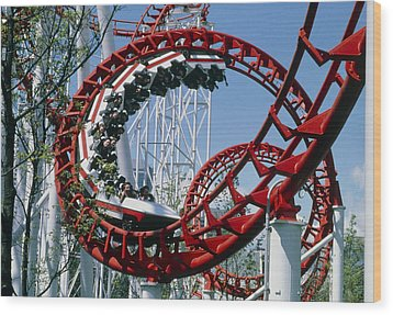 Corkscrew Coil On A Rollercoaster Ride Wood Print by Kaj R. Svensson