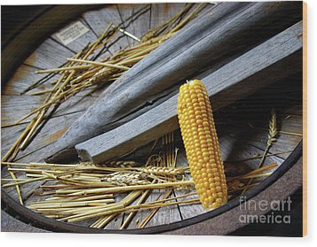 Corn Cob Wood Print by Carlos Caetano