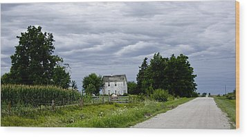 Corn Storm Clouds Horse Dirt Road Old House Wood Print by Wilma  Birdwell