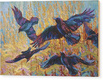 Corn Tag Wood Print by Marion Rose