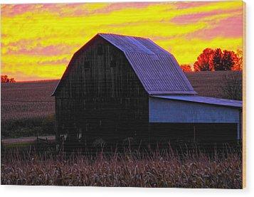 Wood Print featuring the photograph Cornfield Barn Sky by Randall Branham