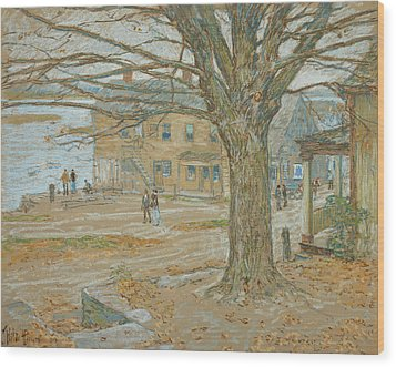 Cos Cob In November Wood Print by Childe Hassam