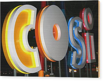 Cosi In Neon Lights Wood Print by Laurel Talabere