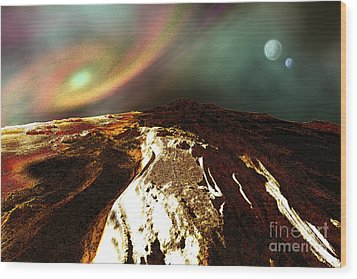 Cosmic Landscape Of An Alien Planet Wood Print by Corey Ford