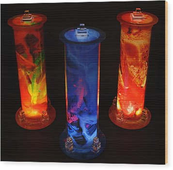 Cosmic Light Tubes Wood Print by Colleen Cannon