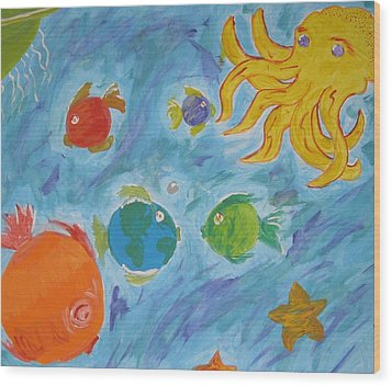 Wood Print featuring the painting Cosmic Ocean by Yshua The Painter