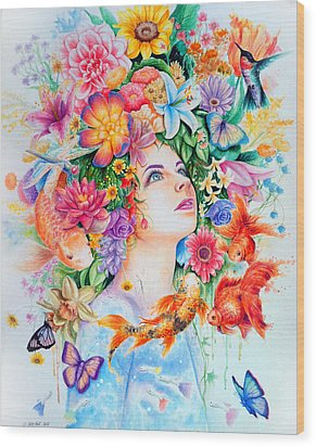 Cosmos Wood Print by Callie Fink