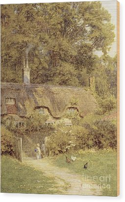 Cottage At Farringford Isle Of Wight Wood Print by Helen Allingham