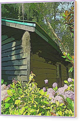 Cottage At Magnolia Plantation Wood Print by Mindy Newman