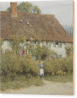 Cottage At West Horsley Surrey Wood Print by Helen Allingham