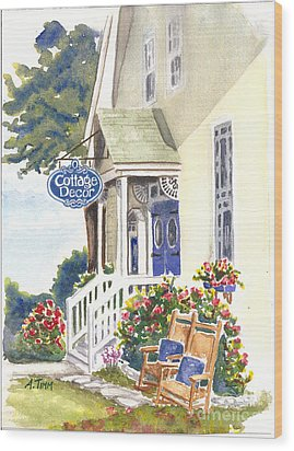 Cottage Decor Wood Print by Andrea Timm