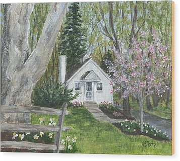 Cottage In Spring Wood Print