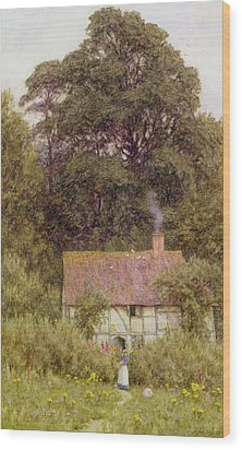 Cottage Near Brook  Wood Print by Helen Allingham