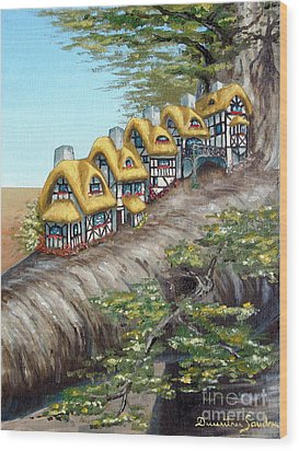 Cottage Row From Arboregal Wood Print
