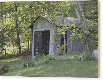 Cottage Shed Wood Print by Michel DesRoches