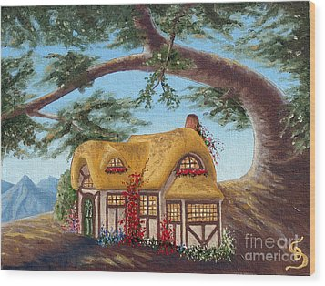 Cottage Under A Branch From Arboregal Wood Print