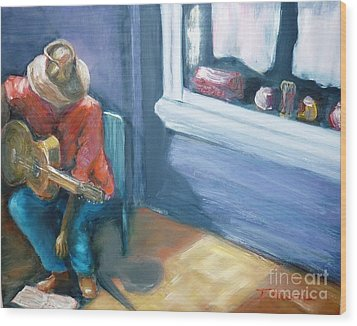Wood Print featuring the painting Busker At Cottesloe - Original Sold by Therese Alcorn