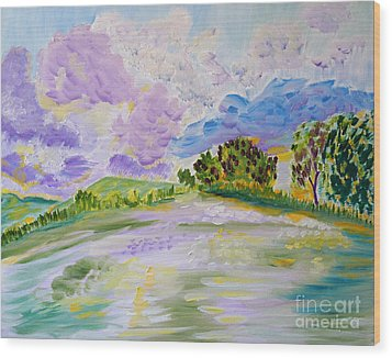 Cotton Candy Clouds Wood Print by Meryl Goudey