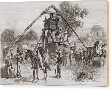 Cotton Press In Operation In The South Wood Print by Everett
