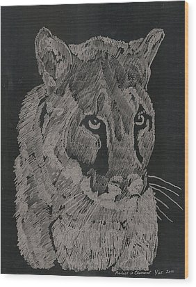 Cougar Wood Print by Robert Clement