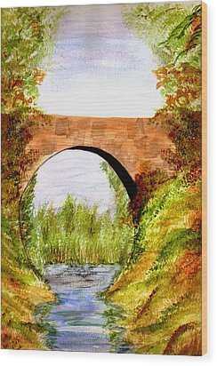 Wood Print featuring the painting Country Bridge by Paula Ayers