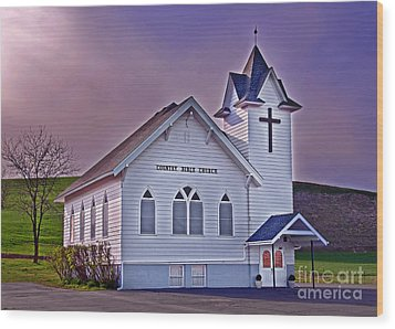 Country Church At Sunset Art Prints Wood Print by Valerie Garner