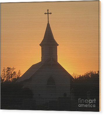 Country Church Wood Print by Kim Yarbrough