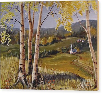 Country Church Wood Print by Marilyn Smith