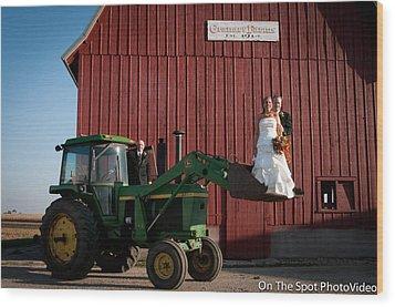 Country Farm Wedding Wood Print by Sidney Dumas