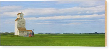 Country Grain Elevator Panoramic Wood Print by Corey Hochachka
