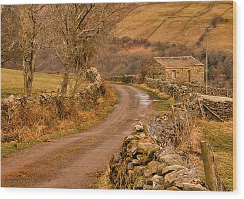 Country Lane Yorkshire Dales Wood Print by Trevor Kersley