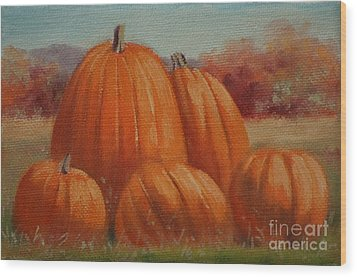 Country Pumpkins Wood Print