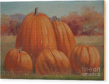 Country Pumpkins Wood Print by Linda Eades Blackburn