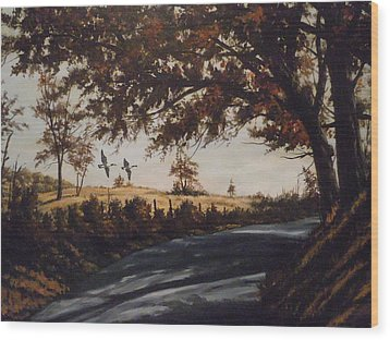 Wood Print featuring the painting Country Road by James Guentner