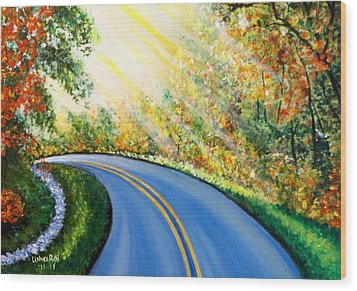 Country Road Wood Print by Usha Rai