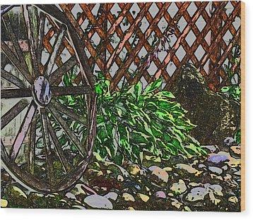 Country Wheel Working Wood Print by Debra     Vatalaro
