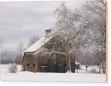 Country Winter Wood Print by Monica Lewis
