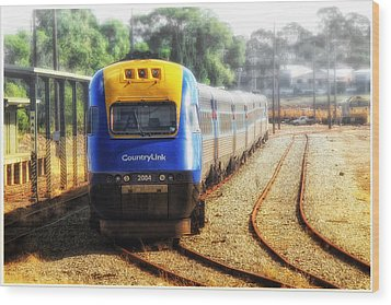 Wood Print featuring the digital art Countrylink Taree 01 by Kevin Chippindall