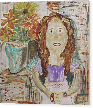 Countryside Girl Wood Print by Mary Carol Williams