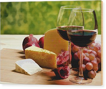 Countryside Wine  Cheese And Fruit Wood Print by Elaine Plesser