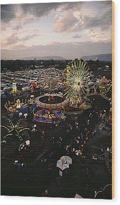 County Fair, Yakima Valley, Rides Wood Print by Sisse Brimberg