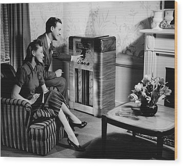 Couple Listening To Radio In Living Room, (b&w) Wood Print by George Marks