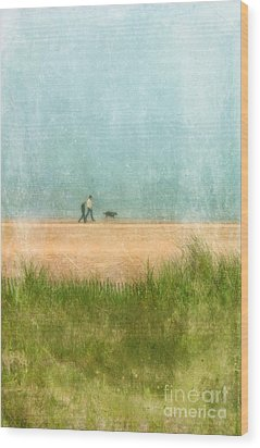 Couple On Beach With Dog Wood Print by Jill Battaglia