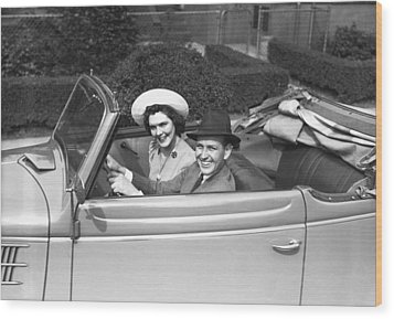 Couple Riding In Old Fashion Convertible Car, (b&w),, Portrait Wood Print by George Marks