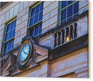 Courthouse Clock Wood Print by Beverly Hammond